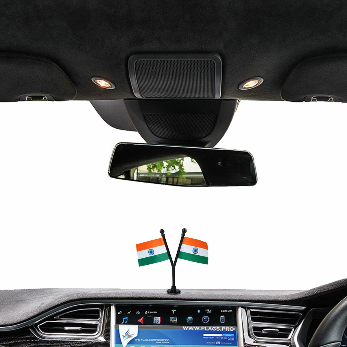 dual or double indian flags with a black plastic stand on a car dashboard