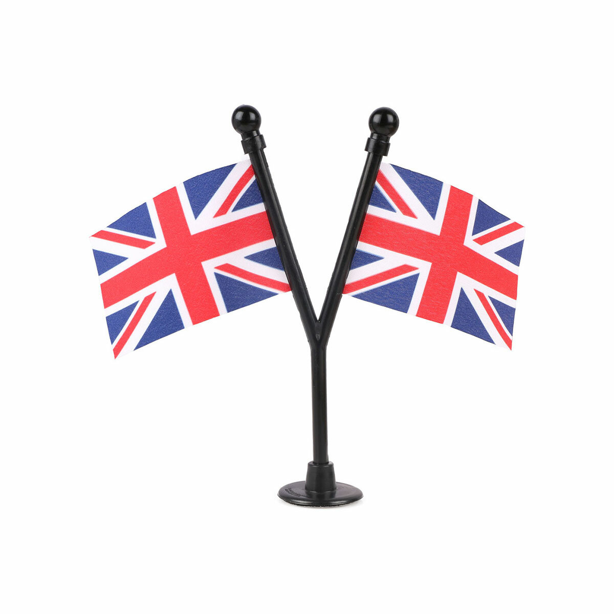 dual uk car dashboard flags with a black plastic stand / base