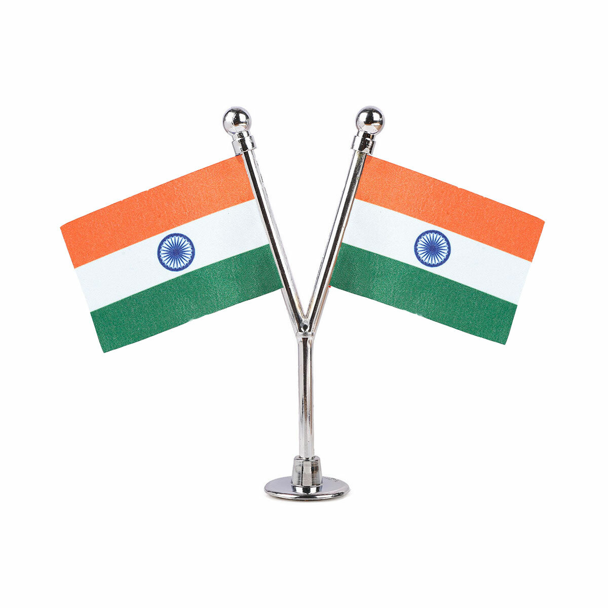 dual indian car dashboard flags with a chrome plated plastic stand / base
