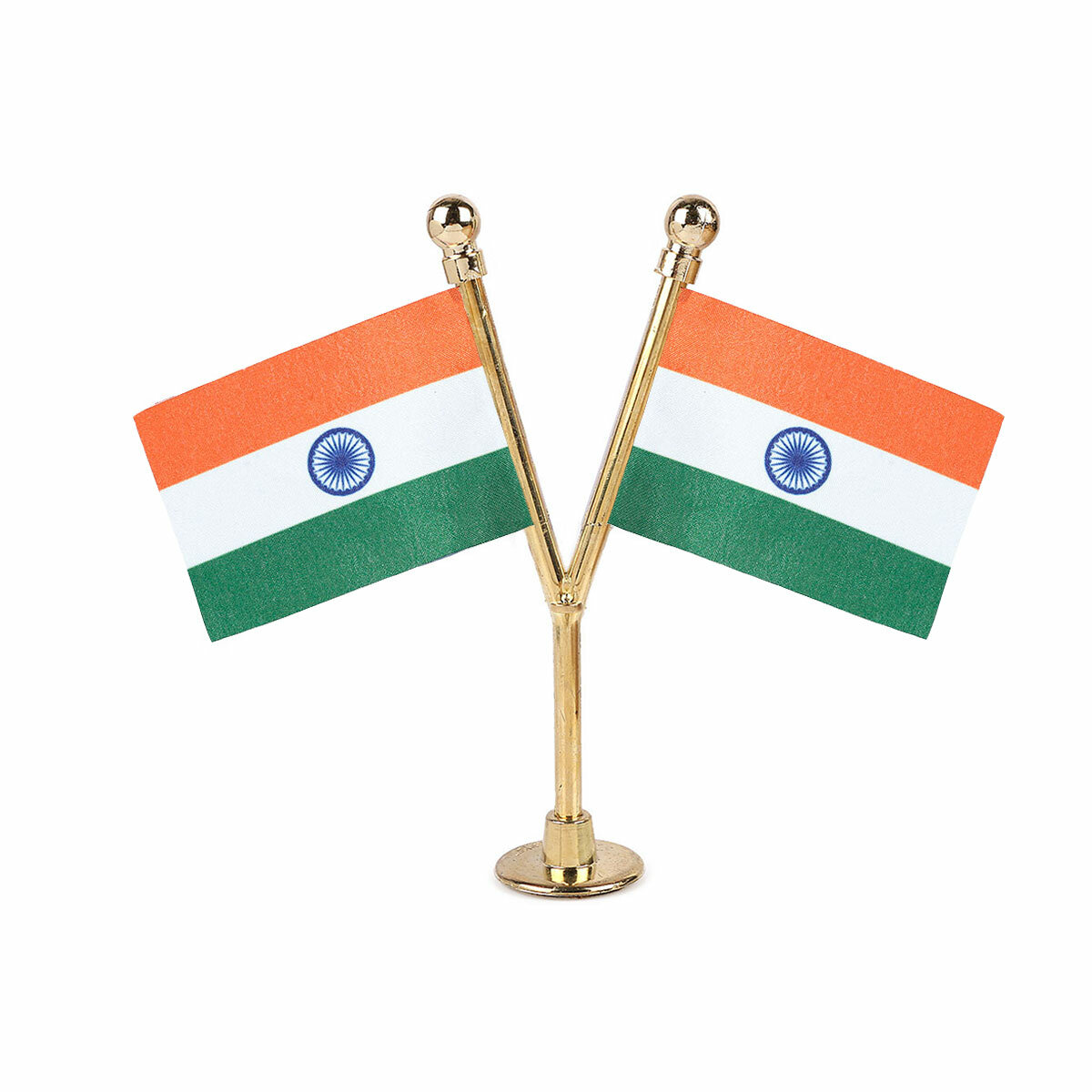 dual indian car dashboard flags with a gold plated plastic stand / base