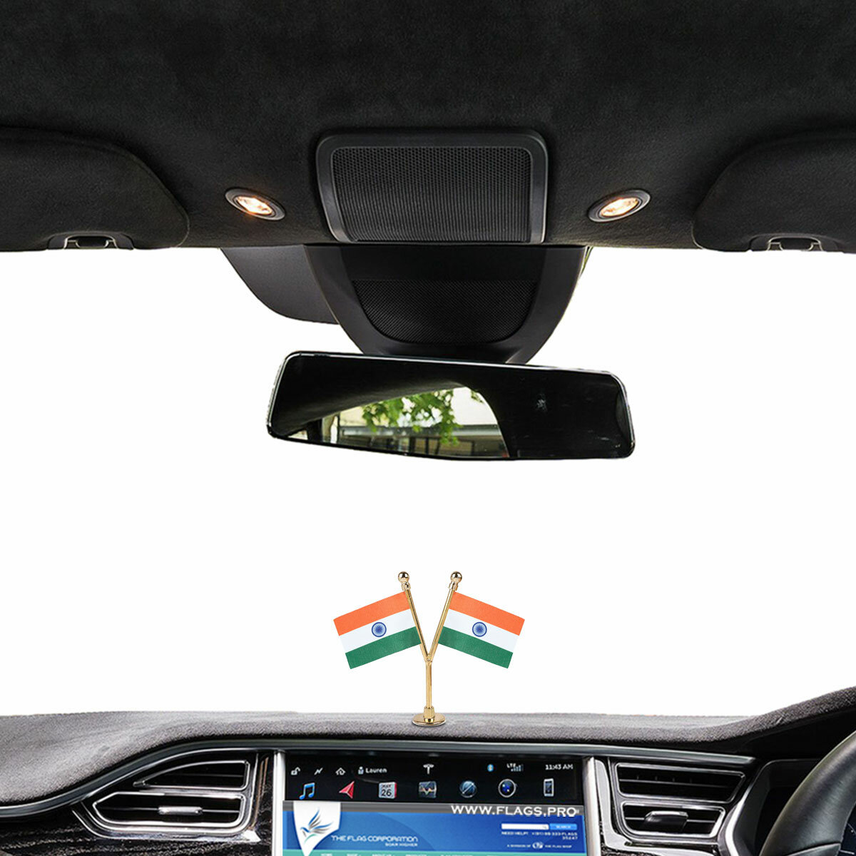 dual or double indian flags with a gold plated plastic stand on a car dashboard
