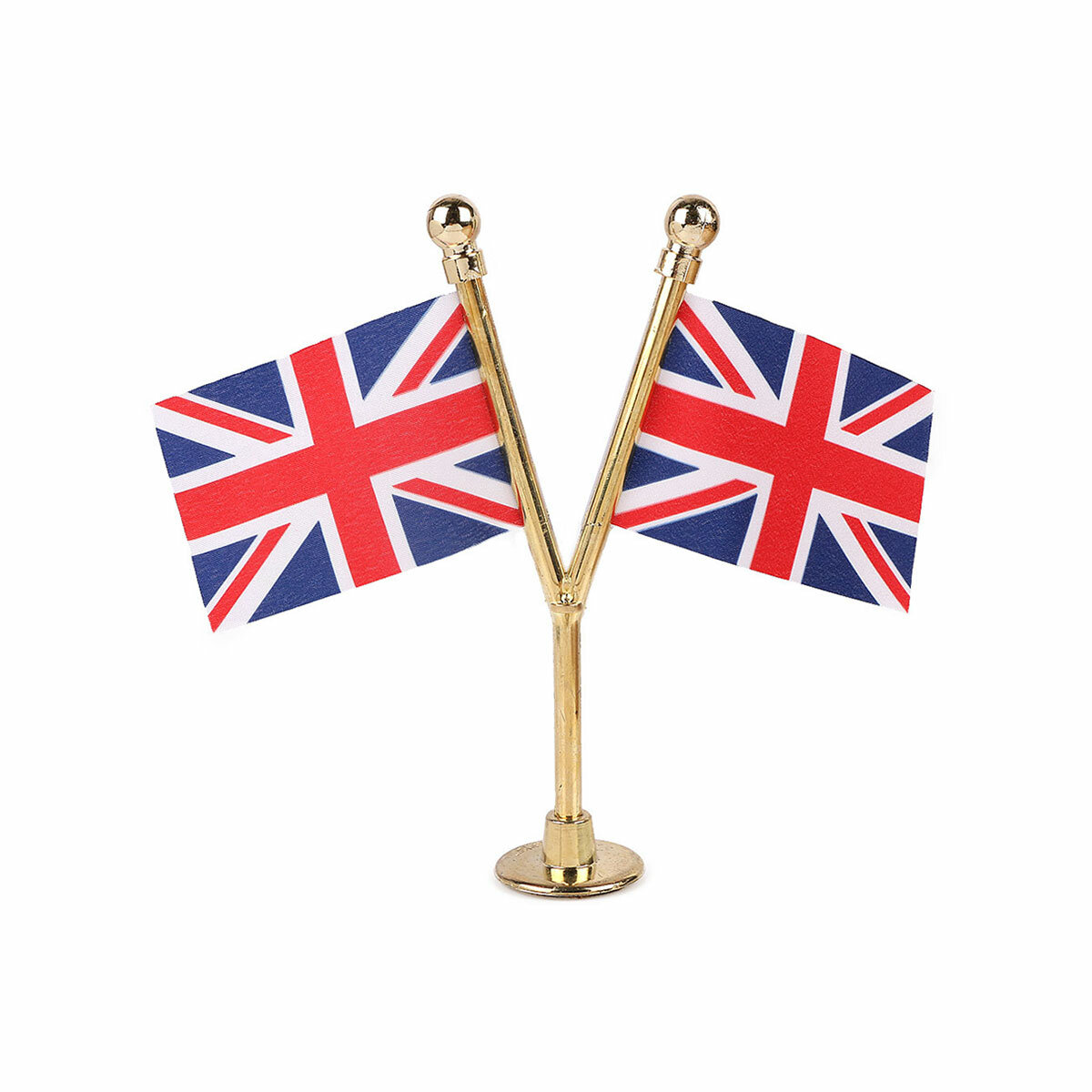 dual uk car dashboard flags with a gold plated plastic stand / base
