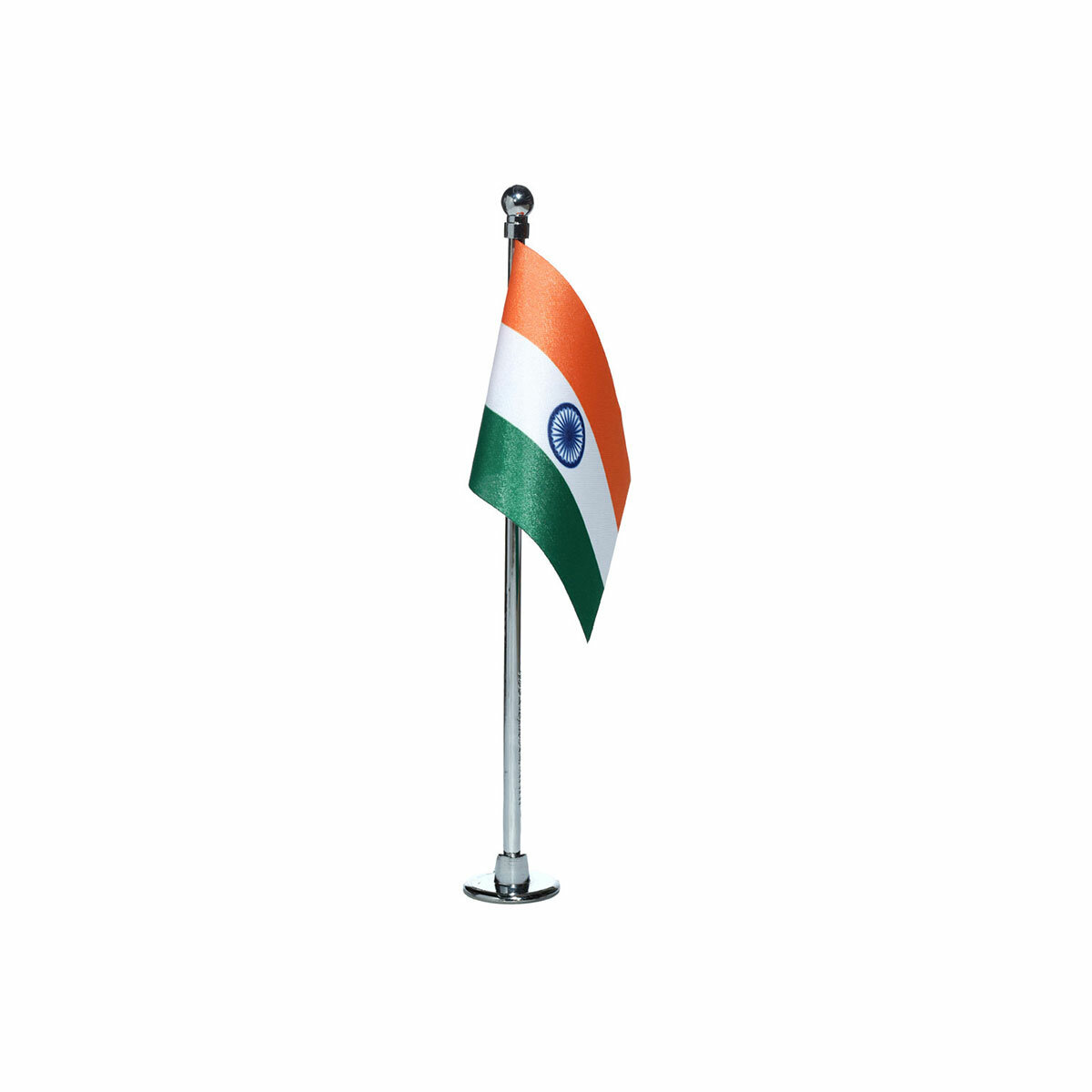 """indian car dashboard flag of size 3"""" x 4.5"""" with a chrome plated plastic stand / base"""