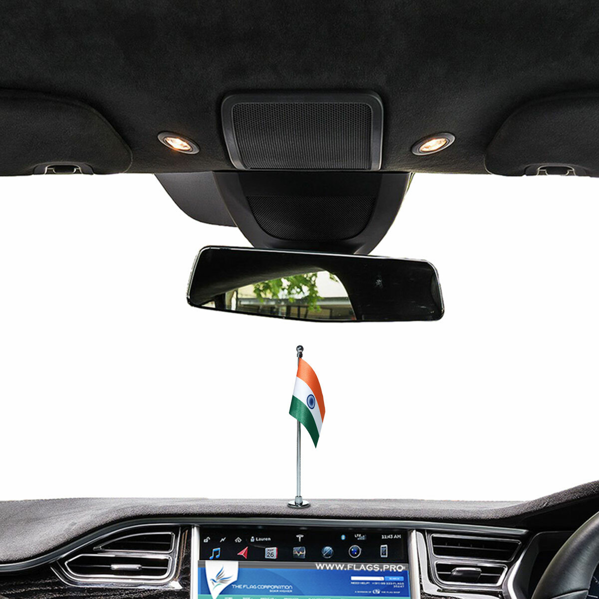 """indian flag of size 3"""" x 4.5"""" with a chrome plated plastic stand on a car dashboard"""