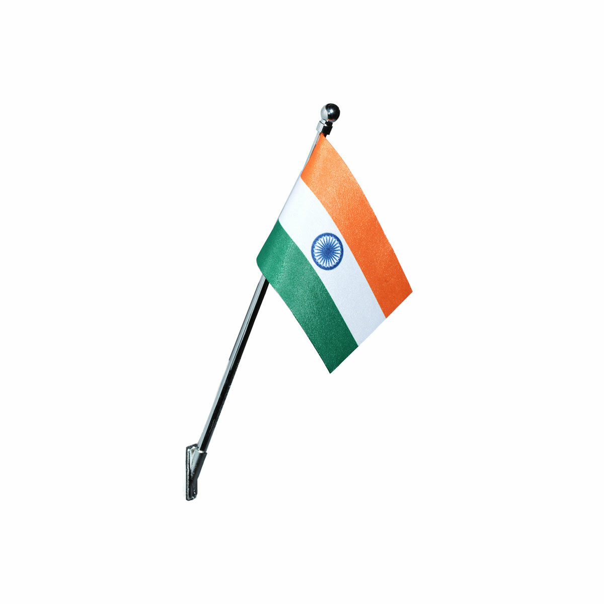 indian wall mount or desktop mount flag with a chrome plated plastic stand / base