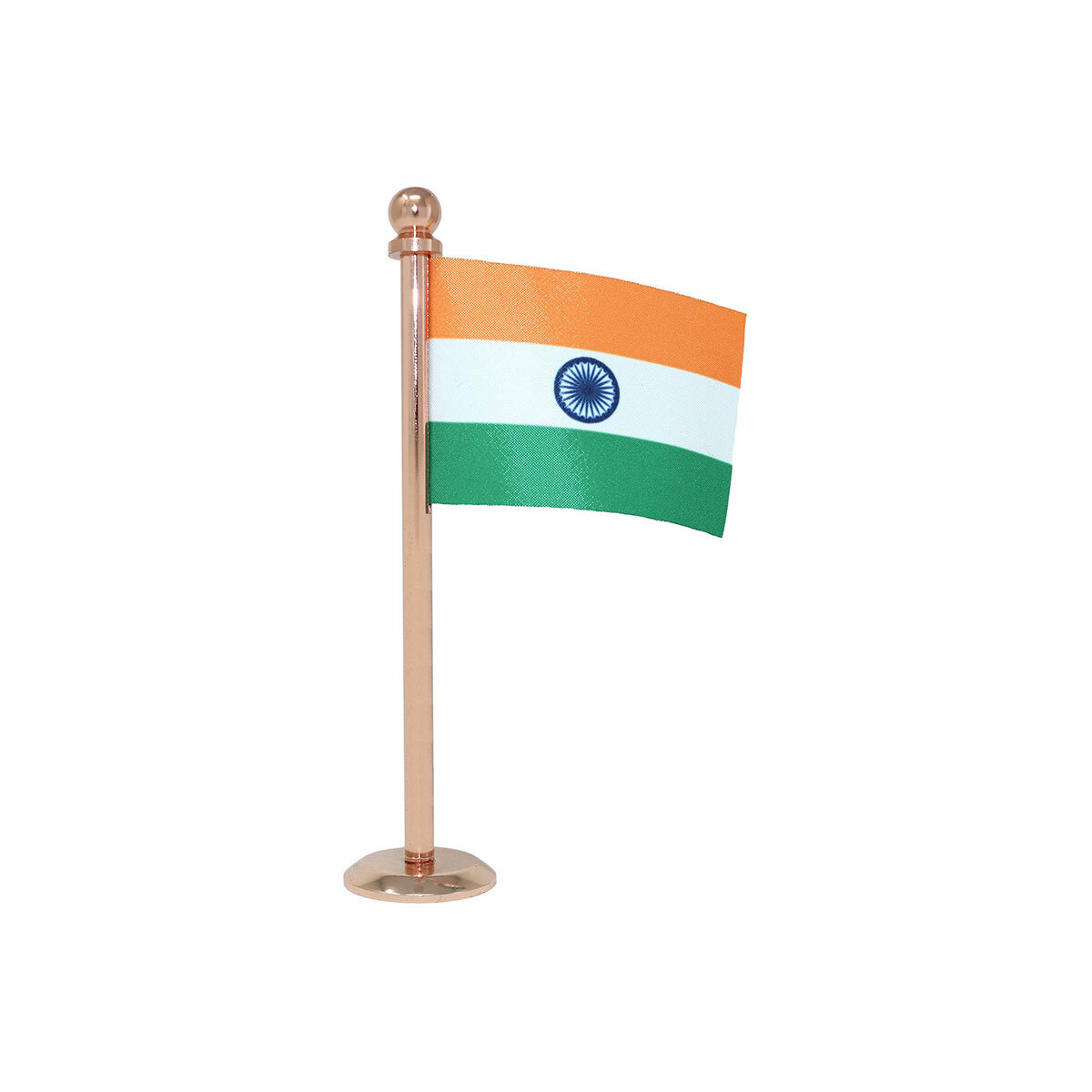 indian car dashboard flag with a rose gold plated steel stand / base