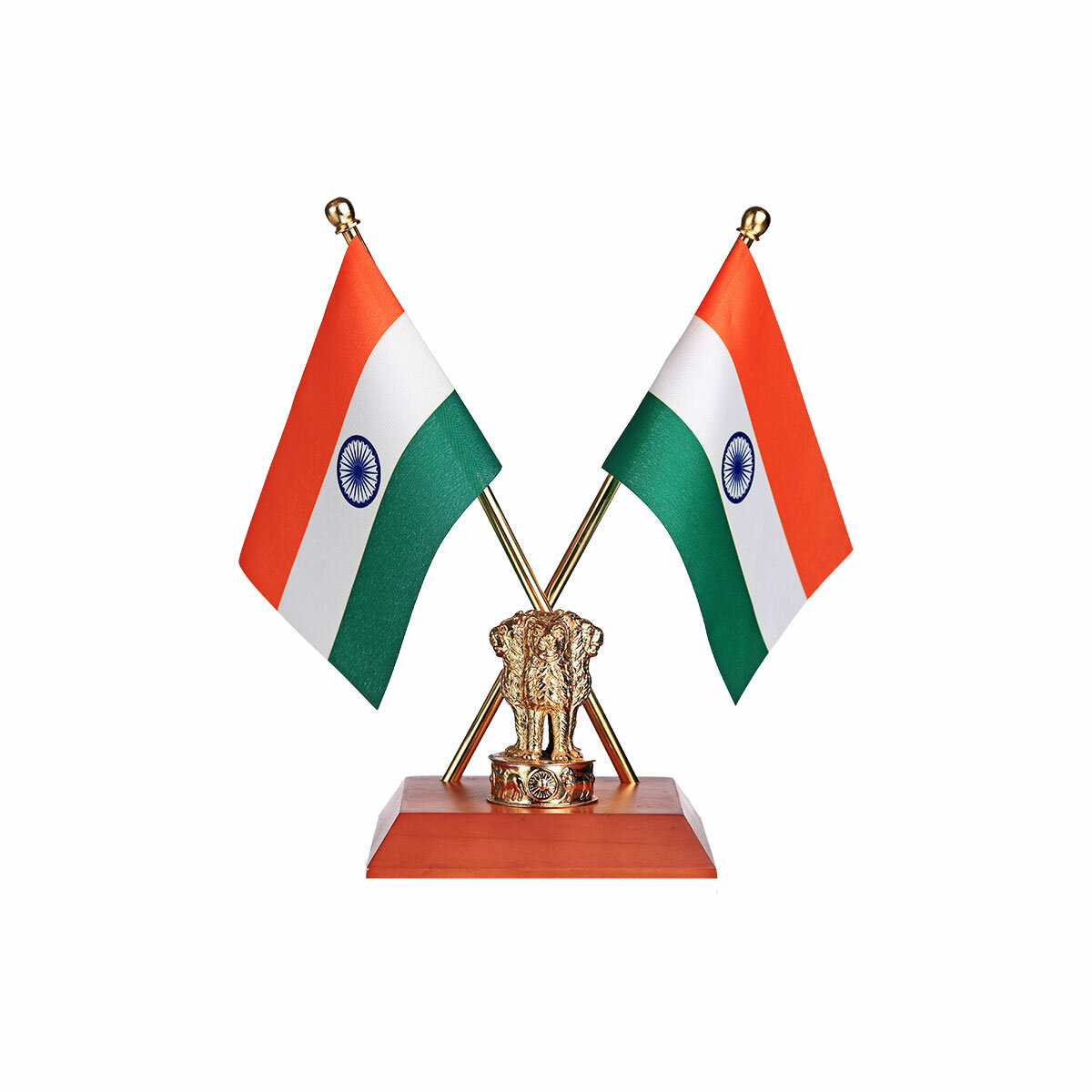 Cross Indian Flags With Our Exclusive Gold Plated Brass Ashok Stambh on A Polished Wooden Base