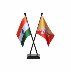 india and bhutan table or desk flag with a black plastic stand / base