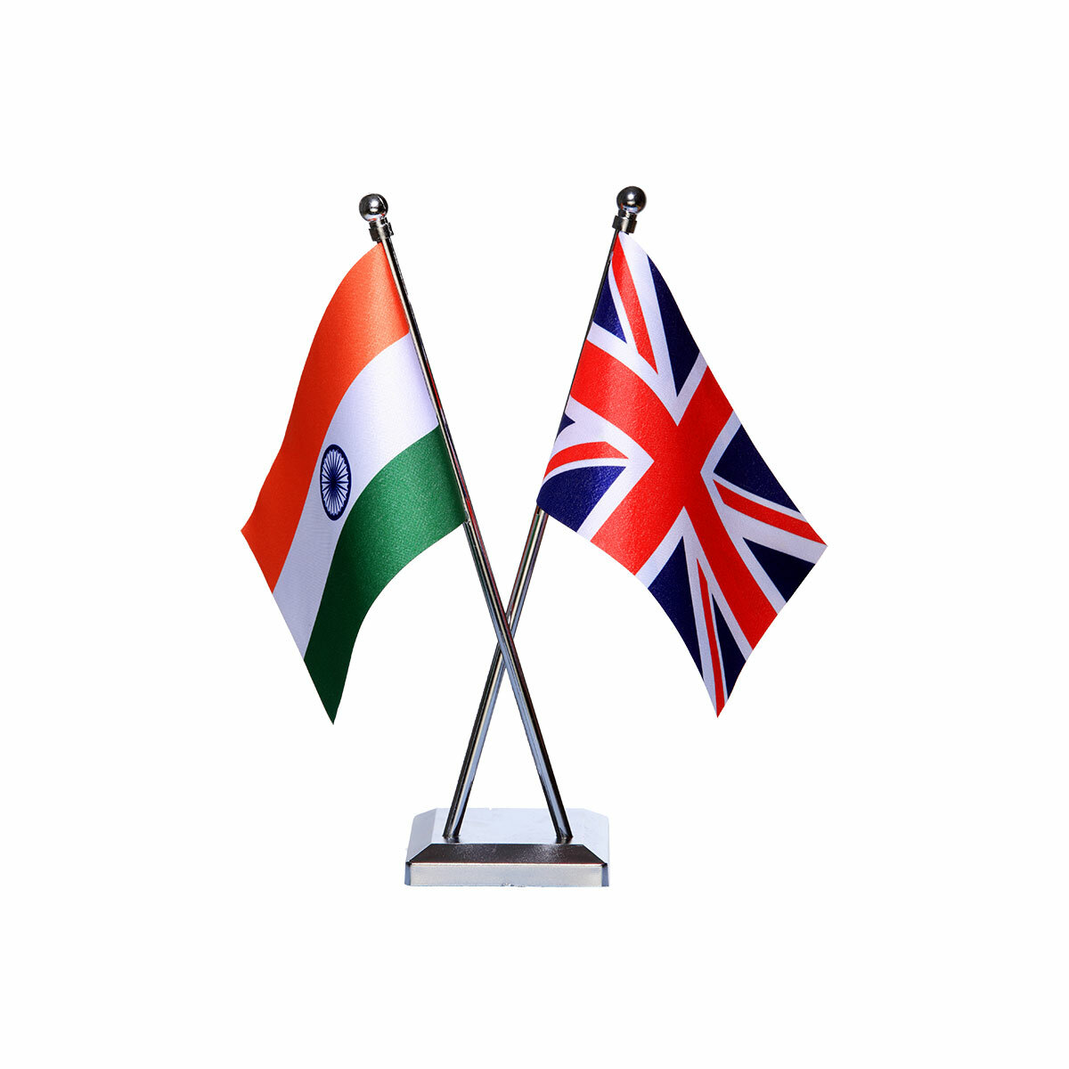 india and uk table or desk flag with a chrome plated plastic stand / base