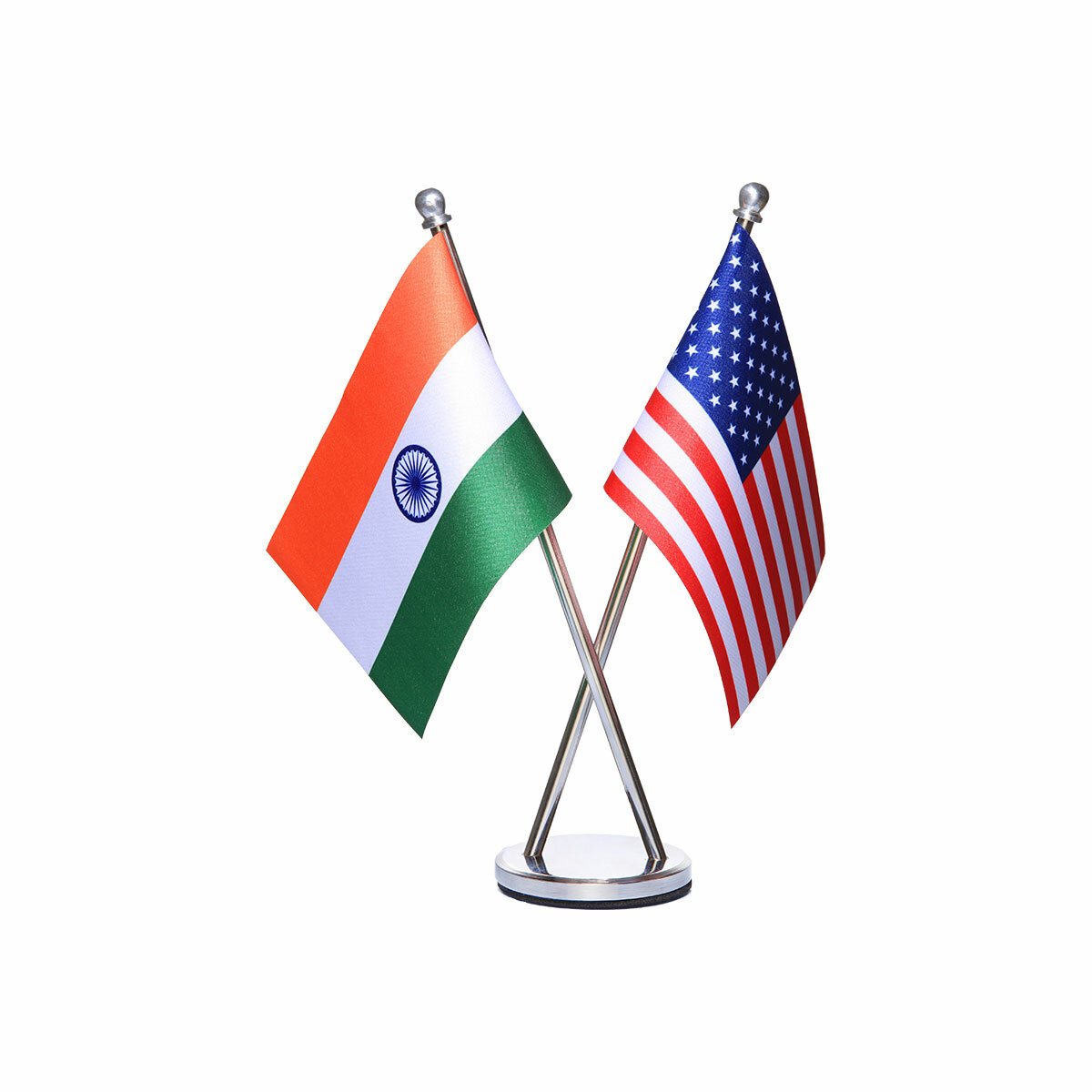 india and usa cross table or desk flag with a stainless steel stand / base