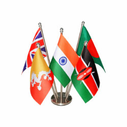 indian flag & other national flags together on a stainless steel stand