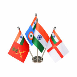 indian flag with indian armed forces flags of the army, navy & air force together on a stainless steel stand