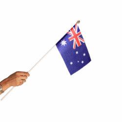 australia miniature hand waving flag with a plastic staff / pole