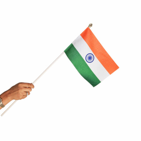 indian miniature hand waving flag with a plastic staff / pole