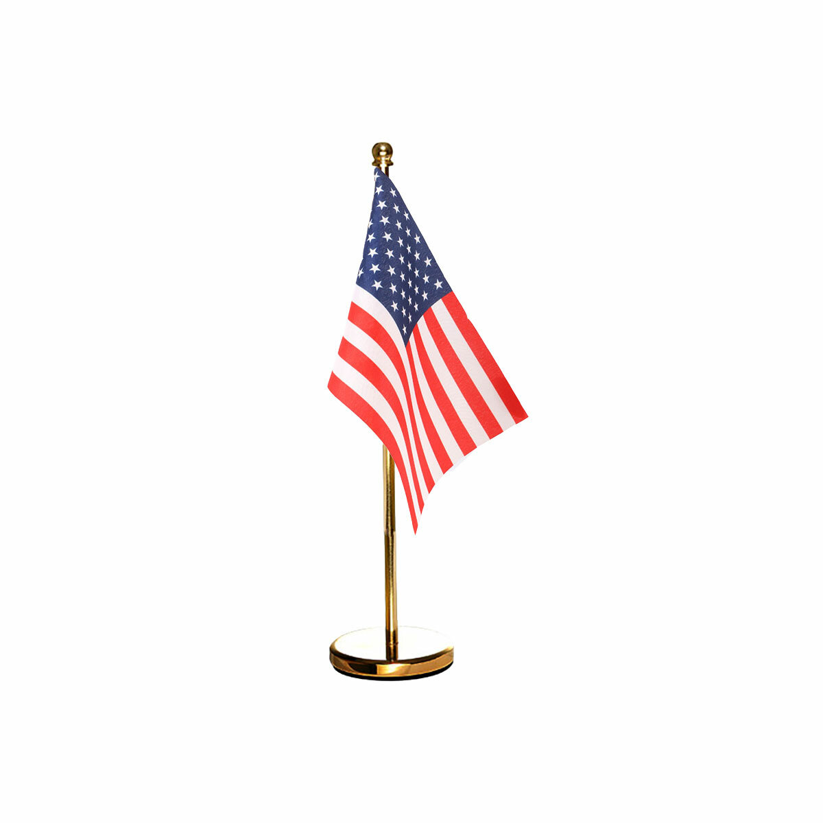usa table or desk flag with a stainles steel stand / base