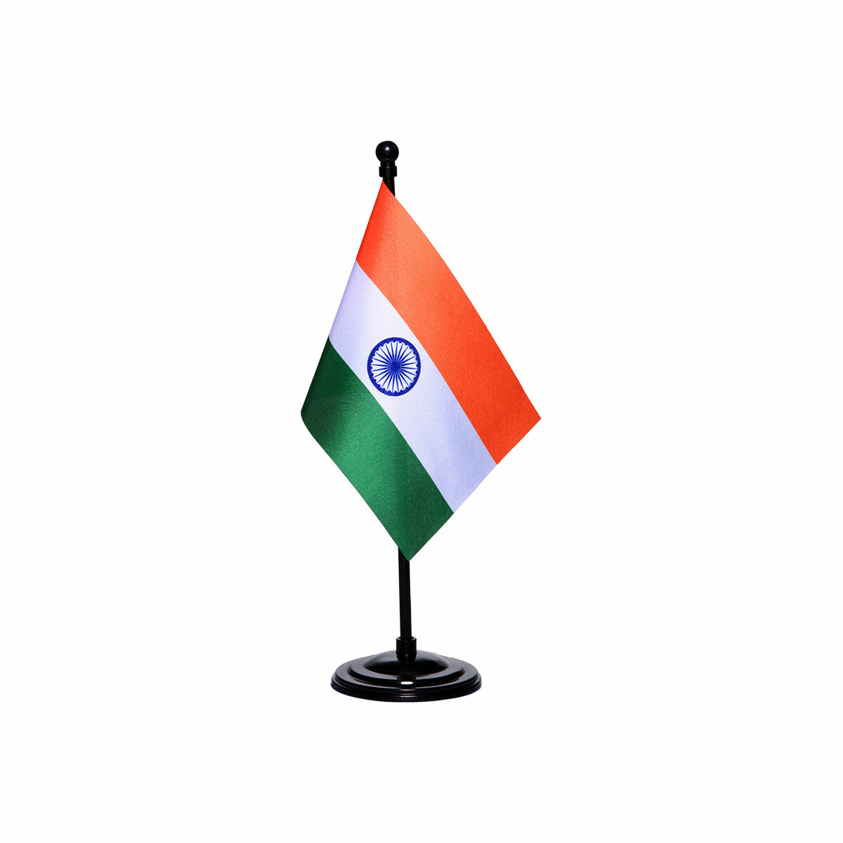 india table or desk flag with a black plastic stand / base