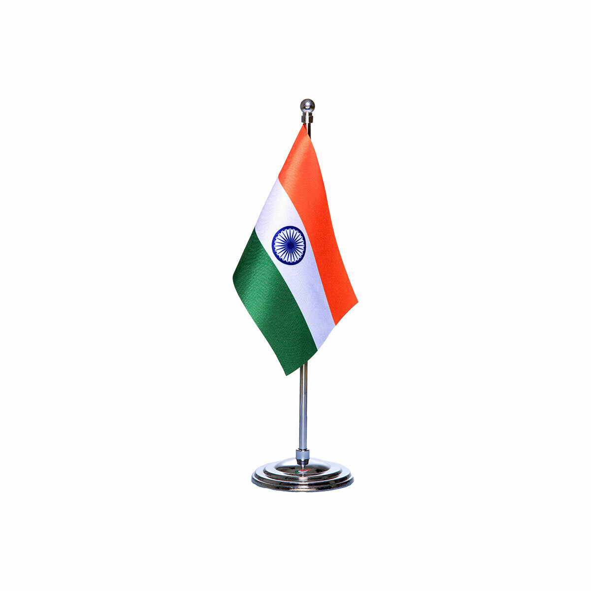 india table or desk flag with a chrome plated plastic stand / base