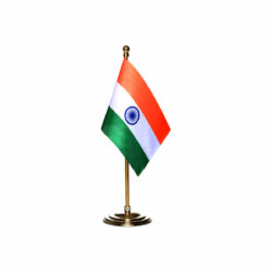 india table or desk flag with a gold plated plastic stand / base