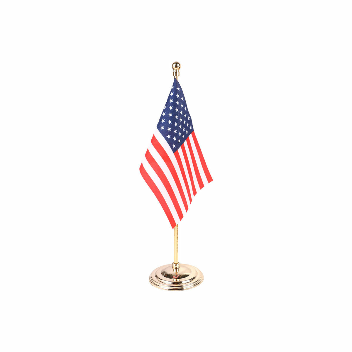 usa table or desk flag with a gold plated plastic stand / base
