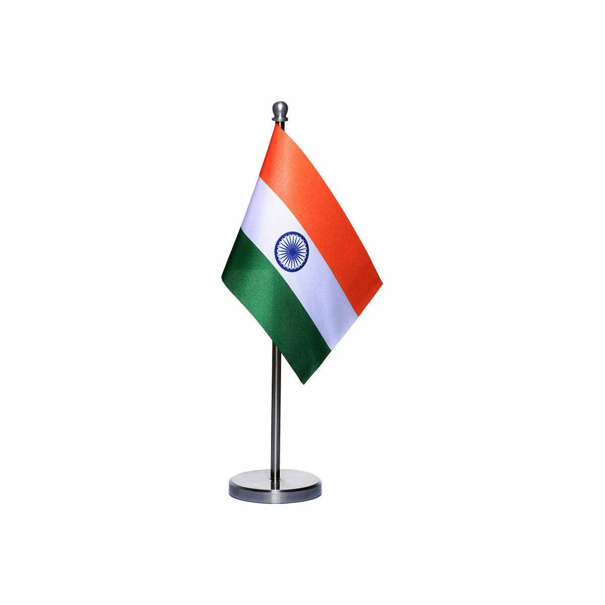 india table or desk flag with a stainles steel stand / base