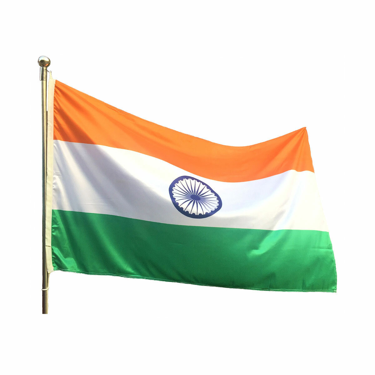 Indian National Flag With Rope Hoisted On A Flagpole