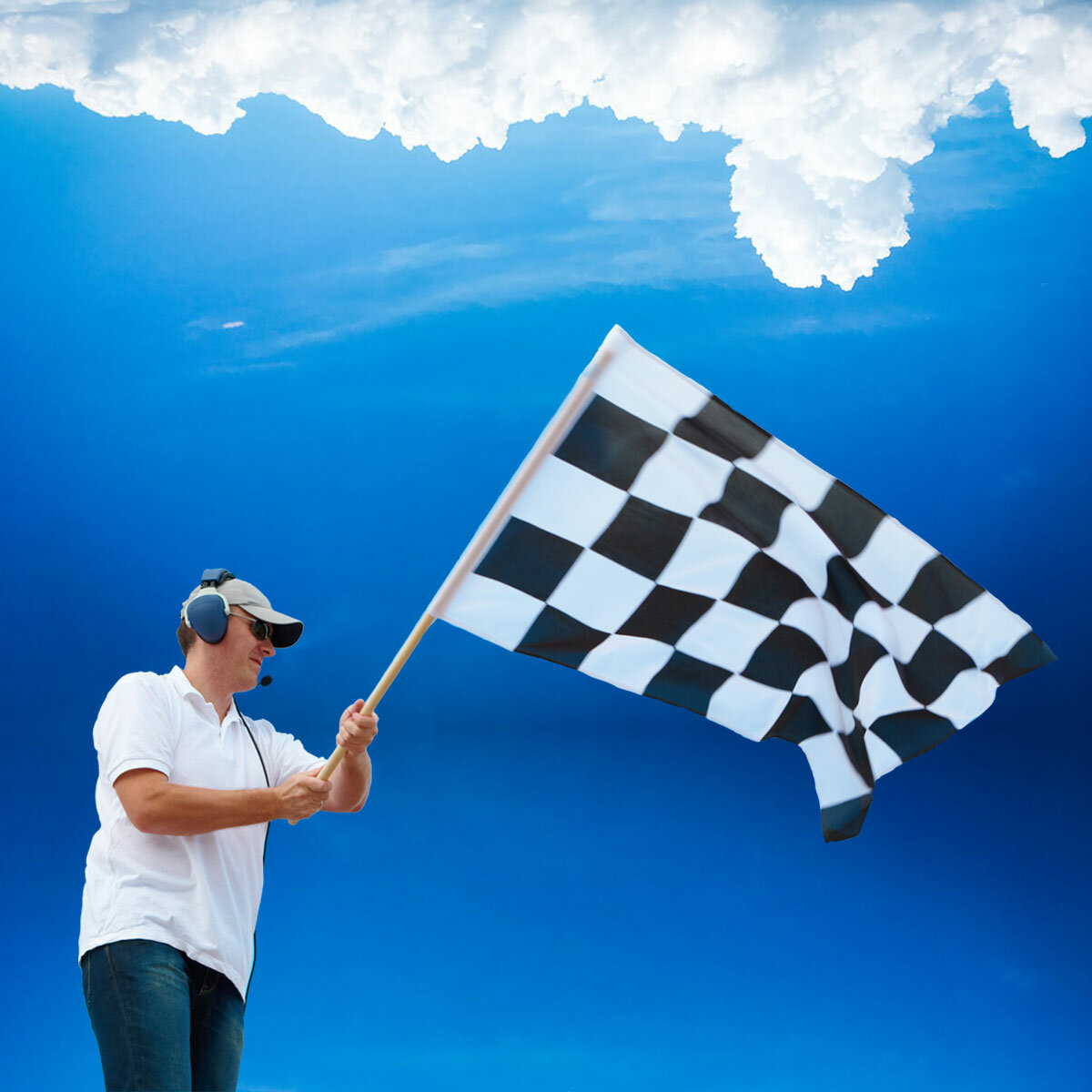 Man Waving Chequered Flag of Size 2ft x 3ft
