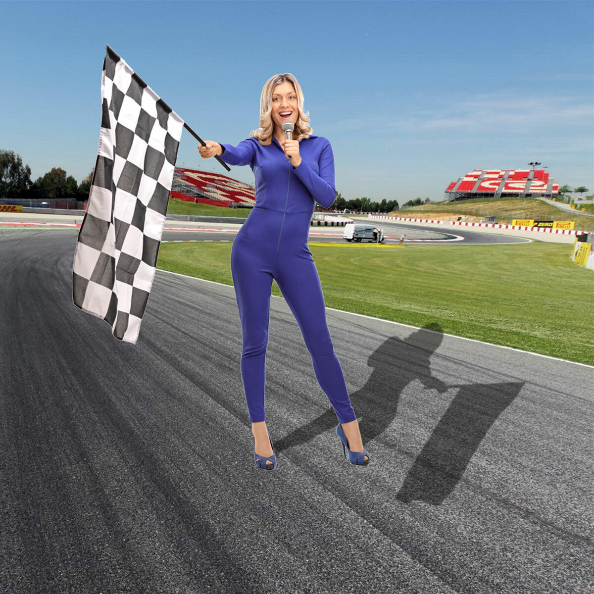 Woman In Racesuit Waving Chequered Flag Front