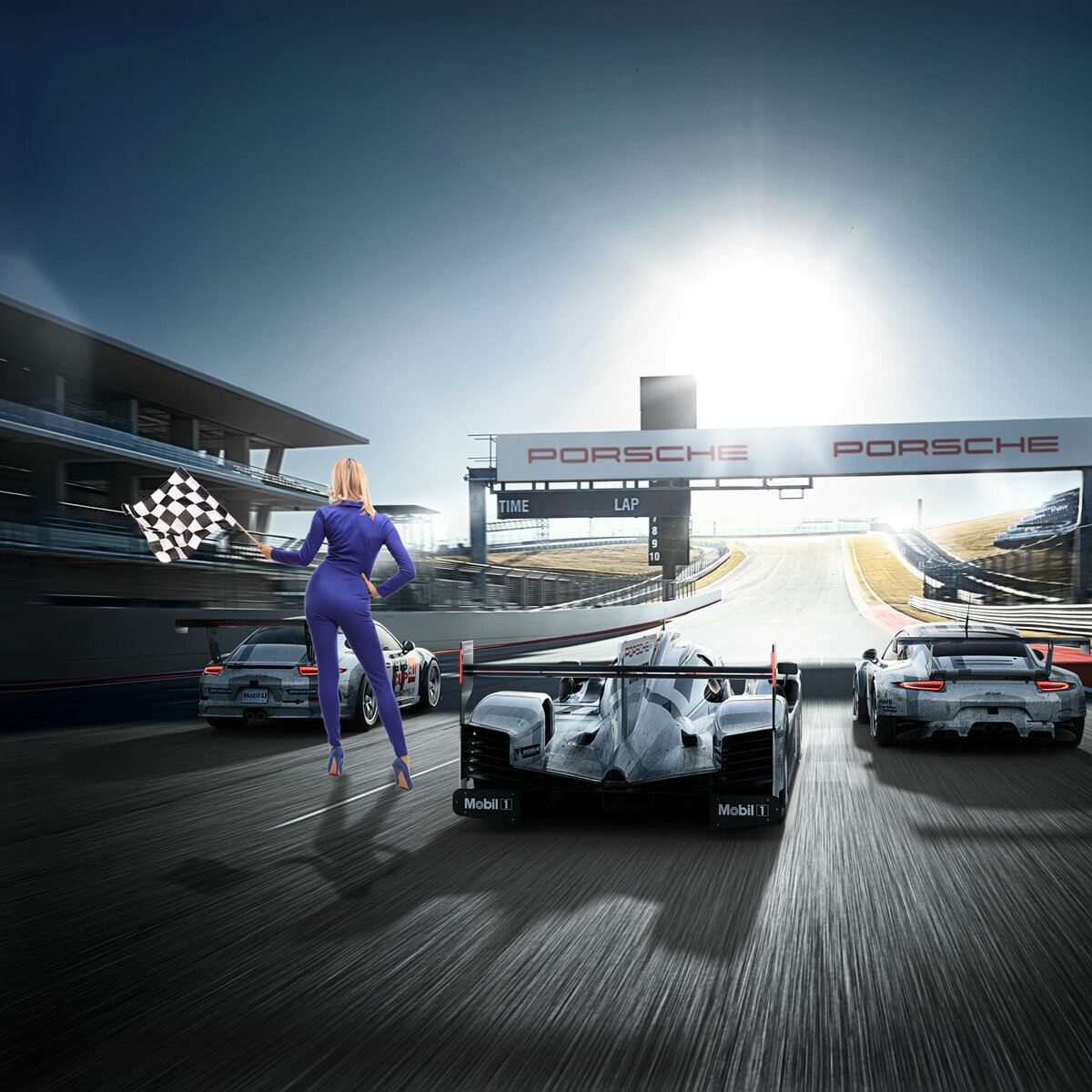 Woman In Racesuit Waving Chequered Flag Back