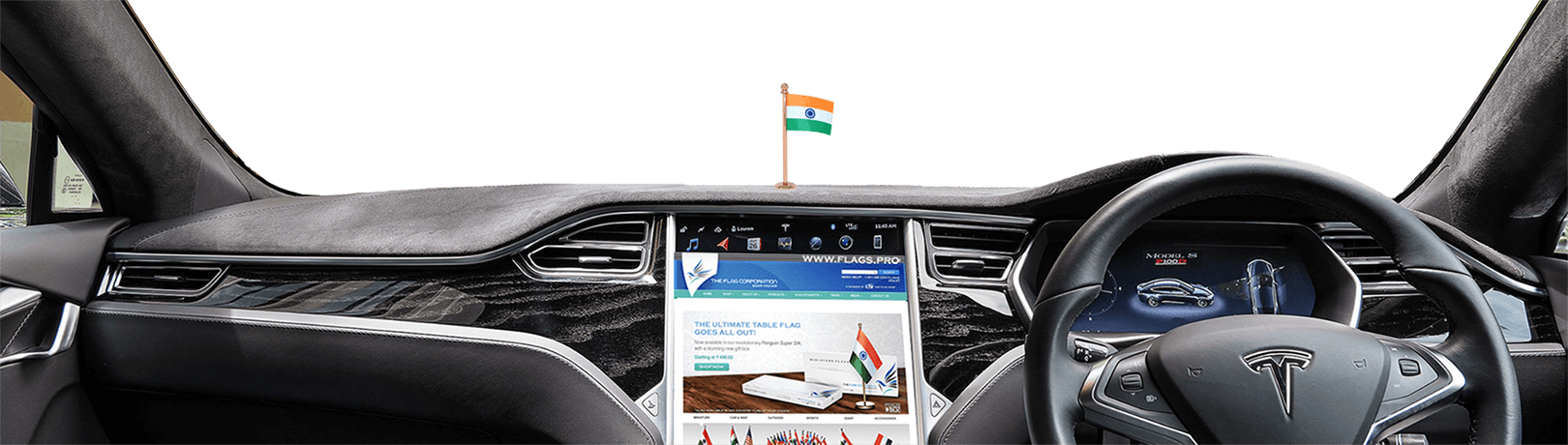 indian flag on car dashboard with rose gold plated stand
